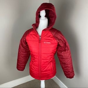 COLUMBIA RED PUFFER FULL ZIP HOODED JACKET
